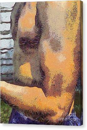 Portrait Of Muscle Man Canvas Print by Odon Czintos