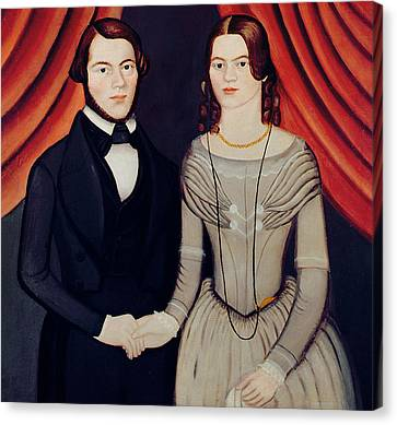 Portrait Of Newlyweds Canvas Print