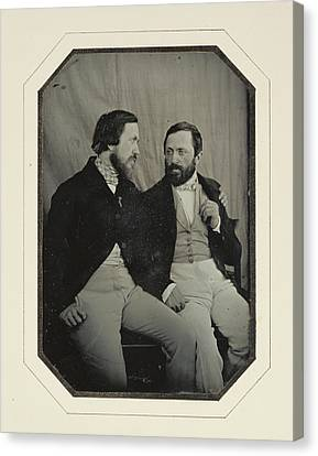 Portrait Of Paul And Hippolyte Flandrin F. Chabrol Canvas Print