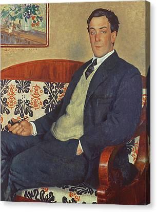 Portrait Of Peter Kapitza 1926 Canvas Print by Boris Mihajlovic Kustodiev