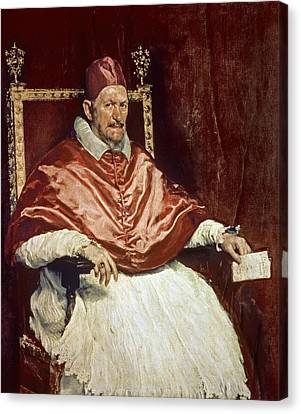 Portrait Of Pope Innocent X 1574-1655, 1650 Oil On Canvas Canvas Print by Diego Rodriguez de Silva y Velazquez