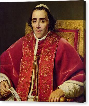 Portrait Of Pope Pius Vii Canvas Print by Jacques Louis David