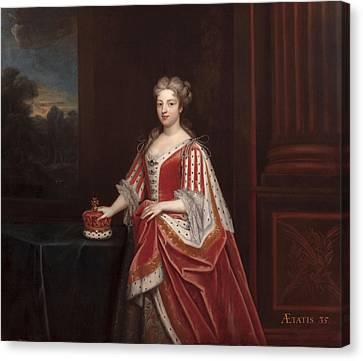 Portrait Of Queen Caroline Wilhelmina Canvas Print by Enoch Seeman