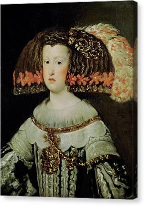 Portrait Of Queen Maria Anna 1635-96 Of Spain Oil On Canvas Canvas Print by Diego Rodriguez de Silva y Velazquez