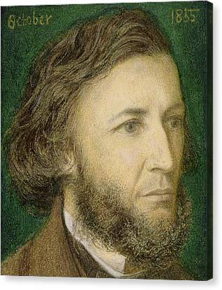 Portrait Of Robert Browning Canvas Print by Dante Charles Gabriel Rossetti
