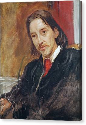 Portrait Of Robert Louis Stevenson Canvas Print by Sir William Blake Richomond