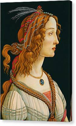Portrait Of Simonetta Vespucci  Canvas Print by Celestial Images