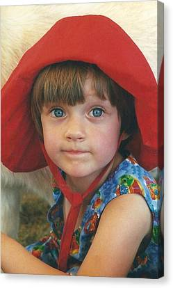 Portrait Of Sophia In A Red Hat Canvas Print