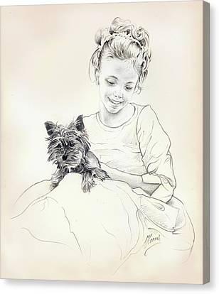 Canvas Print featuring the drawing Portrait Of Sylwia by Anna Ewa Miarczynska