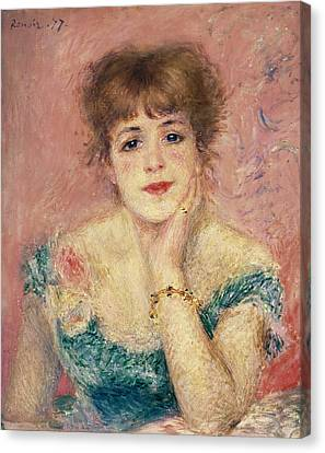 Portrait Of The Actress Jeanne Samary, 1877 Study Canvas Print by Pierre Auguste Renoir