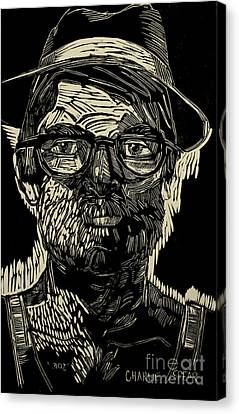 Portrait Of The Artist In A Fedora Final Stage Canvas Print by Charlie Spear