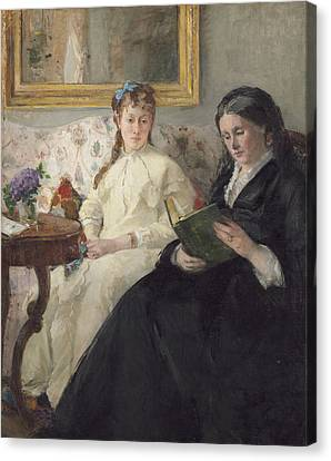 Portrait Of The Artist S Mother And Sister Canvas Print by Berthe Morisot