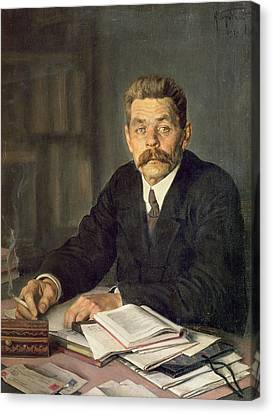 Portrait Of The Author Maxim Gorky 1868-1939, 1929 Oil On Canvas Canvas Print by Isaak Israilevich Brodsky