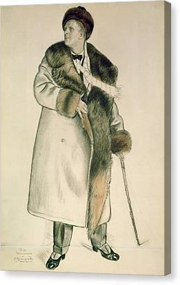 Signed Canvas Print - Portrait Of The Opera Singer Feodor Ivanovich Chaliapin by Boris Mihajlovic Kustodiev