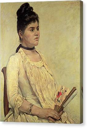 Portrait Of The Step Daughter Canvas Print by Giovanni Fattori