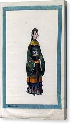 Portrait Of The Wife Of 2 Rank Mandarin Canvas Print