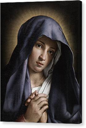 Portrait Of The Young Virgin Mary Canvas Print by Giovanni Battista Salvi da Sassoferrato