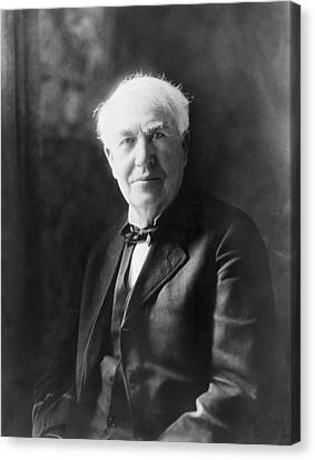 Portrait Of Thomas Edison Canvas Print by Underwood Archives