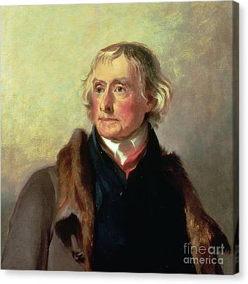 Portrait Of Thomas Jefferson Canvas Print by Thomas Sully