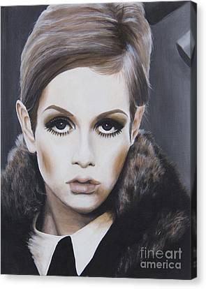 Portrait Of Twiggy Canvas Print by Moe Notsu