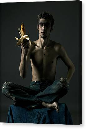 Portrait Of Young Man With Corn Cob Canvas Print by Evgeniy Lankin