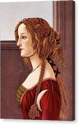 Braids Canvas Print - Portrait Of Young Woman By Botticelli by Vintage Images