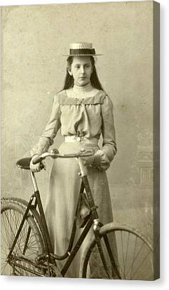 Portrait Of Young Woman In Dress With Ladies Bike Canvas Print