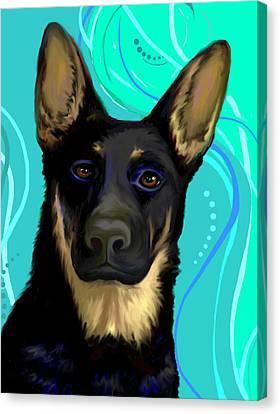 Canvas Print featuring the digital art Portrait Of A German Shepherd Dog by Karon Melillo DeVega