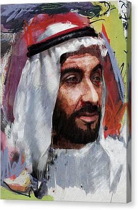 Portrait Of Zayed Bin Sultan Al Nahyan Canvas Print by Maryam Mughal