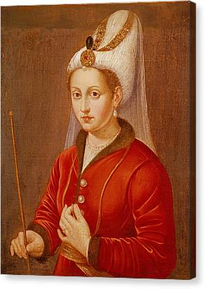 Portrait Presumed To Be Catherine Cornaro, Queen Of Cyprus, C.1470 Oil On Canvas Canvas Print by Giovanni Bellini