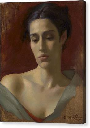 Portrait Study For Spring Rain Canvas Print by Deirdre West