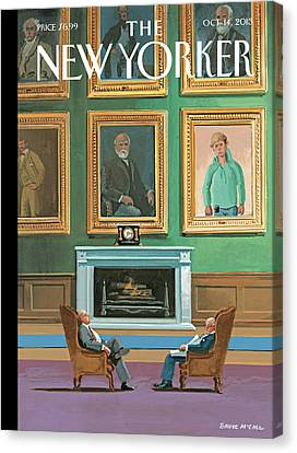 Portraits Of Wealthy Men Are Displayed Canvas Print by Bruce McCall