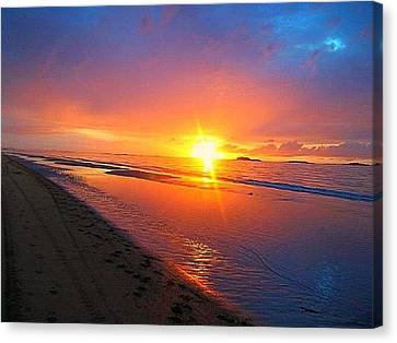 Canvas Print featuring the photograph Portrush Sunset by Tara Potts