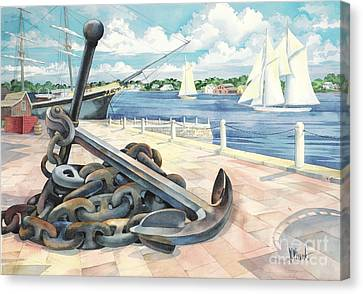 Portside Anchor Canvas Print by Paul Brent