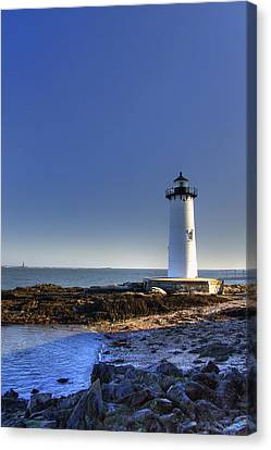 New England Lighthouse Canvas Print - Portsmouth And The Whaleback by Joann Vitali