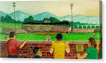 Portsmouth Athletics Vs Muncie Reds 1948 Canvas Print by Frank Hunter