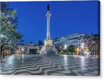 Pedro Canvas Print - Portugal, Lisbon, Rossio Square At Dawn by Rob Tilley