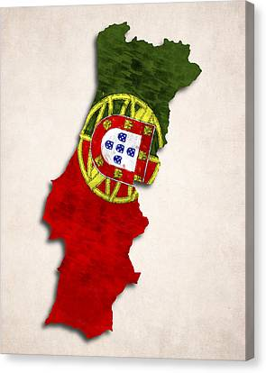 Portugal Map Art With Flag Design Canvas Print by World Art Prints And Designs