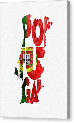 Portugal Typographic Map Flag Canvas Print by Ayse Deniz