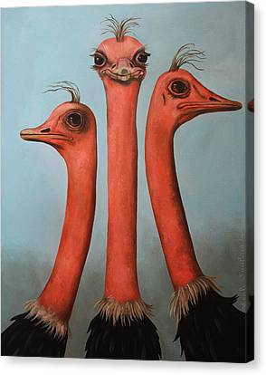 Ostrich Canvas Print - Posers 2 by Leah Saulnier The Painting Maniac