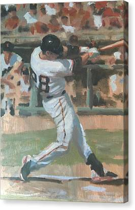 San Francisco Giants Canvas Print - Posey Shot by Darren Kerr