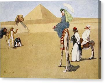 Posing At The Pyramids, From The Light Canvas Print by Lance Thackeray