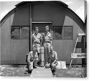 Posing With Atomic Weapon Core Canvas Print by Brady Barrineau