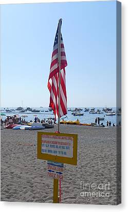 Canvas Print featuring the photograph Positano - American Flag  by Nora Boghossian