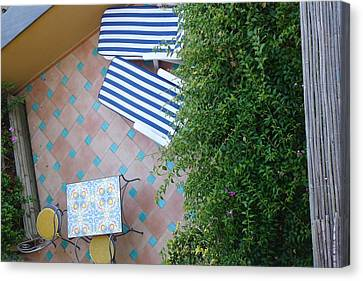 Canvas Print featuring the photograph Positano - Balcony View - Lounge Chairs by Nora Boghossian