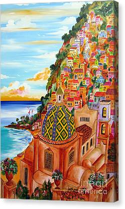 Positano In My Fantasy Canvas Print by Roberto Gagliardi