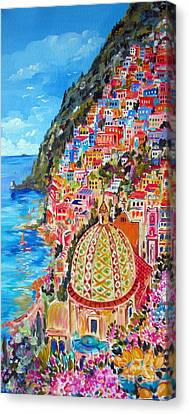 Positano Pearl Of The Amalfi Coast Canvas Print by Roberto Gagliardi