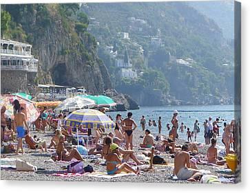 Canvas Print featuring the photograph Positano - Sono Tutti In Spiaggia by Nora Boghossian