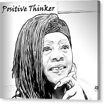 Positive Thinker Blk/wht Canvas Print by Jacqueline Lloyd