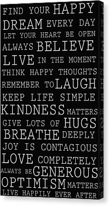 Positive Words Canvas Print by P S